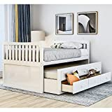 Twin Captain's Bed Storage daybed with Trundle and Drawers for Kids Guests...