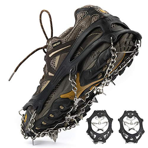 Weanas Ice Cleats Crampons 1 Pair for Boots Shoes Women Men Kids Stainless Spikes Anti Slip Traction Cleats Fishing Hiking Walking Mountaineering Climbing (18 Spikes-Black, L)