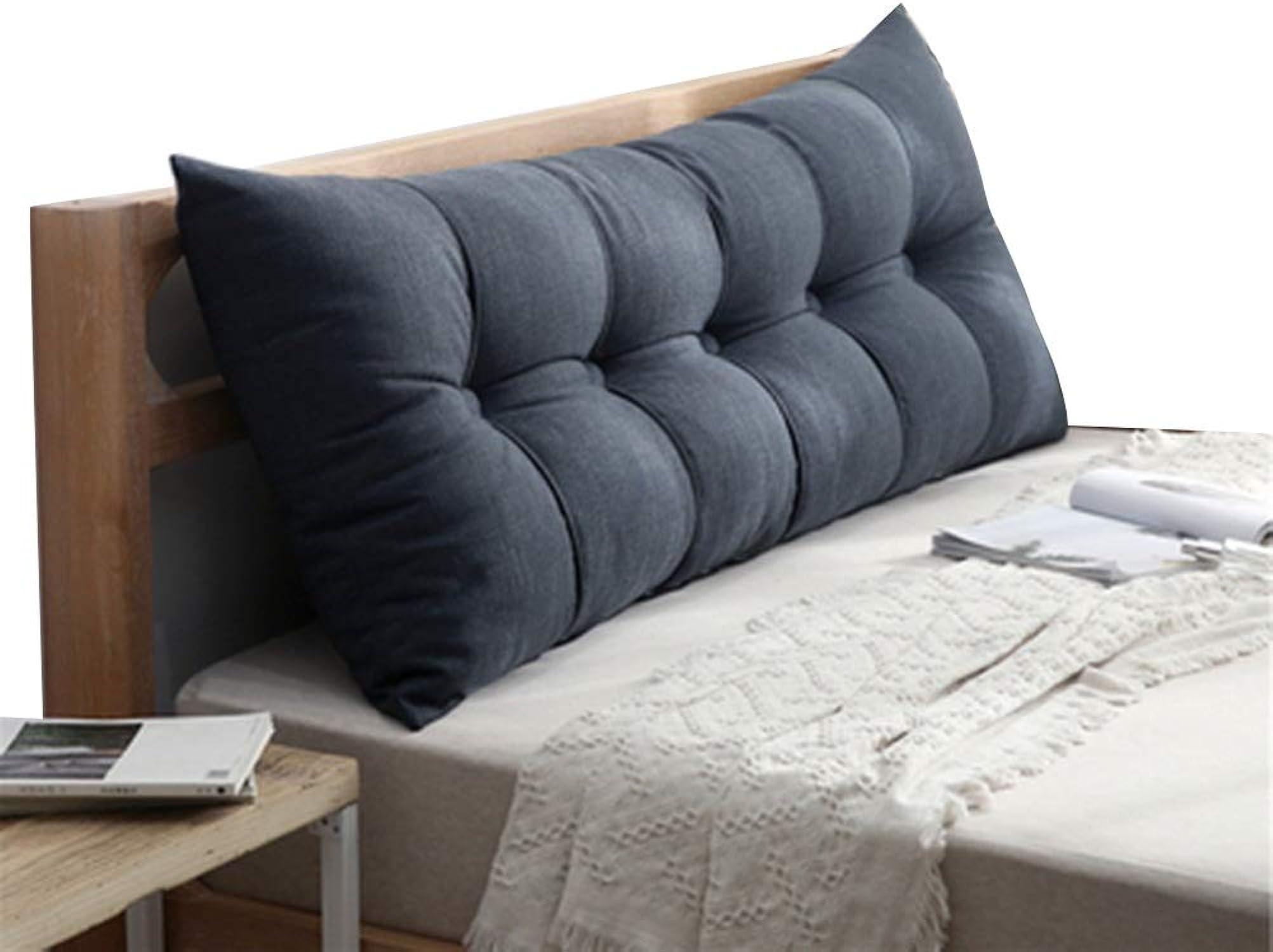 Coussin De Chevet Canapé Souple Coussin De Dossier Double Extra grand Respirant Confortable Coton Lavable Résistant à L'usure, 8 Couleurs, 7 Tailles (Couleur   Bleu, taille   100x60x20cm)