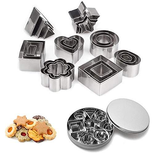 Set di 24 mini formine per biscotti, rettangolari, a forma di cuore, triangolo, rotonde, in acciaio inox, per cottura in cucina, per Halloween, Natale, pasticceria, fondente, decorazione fai da te