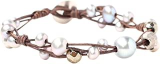 Freshwater Cultured Pearl Single Wrap Bracelet on Natural Leather (Grey Mix)