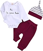Infant Baby Girl Boy Hi I'm New Here Onesie Newborn Baby Romper Pants Striped Hat 3Pcs Outfits Set