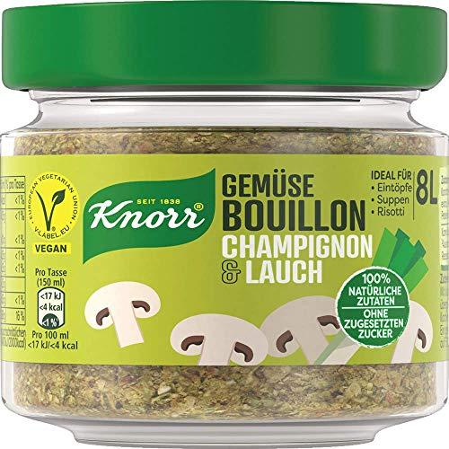 Knorr Gemüse Bouillon Champignon & Lauch (100% Natürliche + Vegane Zutaten im Glas, 96 g )