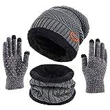 Calentar Sombreros Gorro de Punto Beanie y Calentador de Cuello Bufanda con Forro Polar Suave + Guantes de Pantalla Táctil, Kit de Accesorios de Cálido Invierno 3 en 1 para Hombres y Mujeres