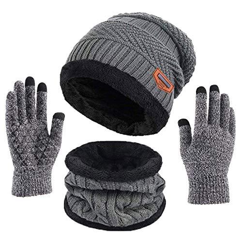 Kfnire Calentar Sombreros Gorro de Punto Beanie y Calentador de Cuello Bufanda con Forro Polar Suave + Guantes de Pantalla Táctil, Kit de Accesorios de Cálido Invierno 3 en 1 para Hombres y Mujeres