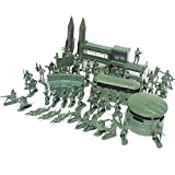 NUOBESTY Military Battle Group, Tiny Troopers Army Men Playset, 56pcs Plastic Army Men Figures w/ Army Base Rocket for Boys Kids