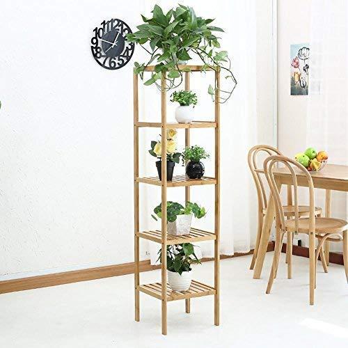 YBB-YB YankimX - Soporte de bambú multicapa de clorofito, para interiores o balcones, para plantas, marco de presentación, color madera, 33 x 110 cm