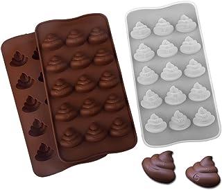 Lnrueg Funny Novelty Unique Safe Nonstick Smooth DIY Craft Chocolate Molds Silicone Poop 2PCS Nonstick Soft Creative Reusa...