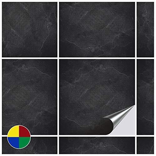 FoLIESEN Fliesenaufkleber 20x20 cm - Fliesen-Folie Bad - Klebefolie Küche - Dekor Black Slate - 60 Klebefliesen