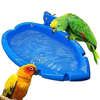 Suspendue Baignoires à Oiseaux Petite Boîte De Bain d'Oiseau Accessoires De Cage Oiseaux De Douche Perroquet Suspendu Dans Baignoire Pour Oiseaux Perroquets Pinson Perruche 18 x 10 x 4 cm Bleu
