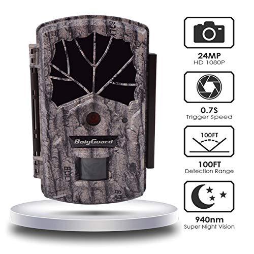 Jagdkamera, 24 MP, 1080P, bewegungsaktivierte Wildkamera, 30 m Erkennung Nachtsicht 55° Weitwinkel Scouting Digital Infrarot Überwachungskamera Wasserdicht Integriert 5,1 cm LCD