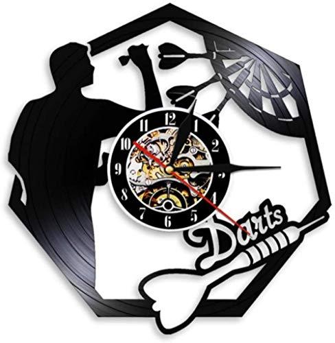 Vinilo reloj de pared dardos colgante de pared arte CD reloj de pared tablero de dardos bar bar juego de dardos discoteca decoración de la habitación hombre cueva juego vinilo reloj de pared regalo