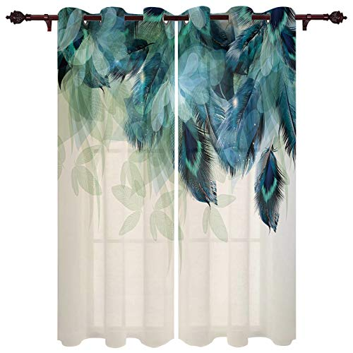 """Advancey Bedroom Window Curtain Panels Peacock Feather Teal Blue Turquoise Floral Green Leaf Thermal Insulated Curtains 2 Panels Set,52"""" W x84 L"""