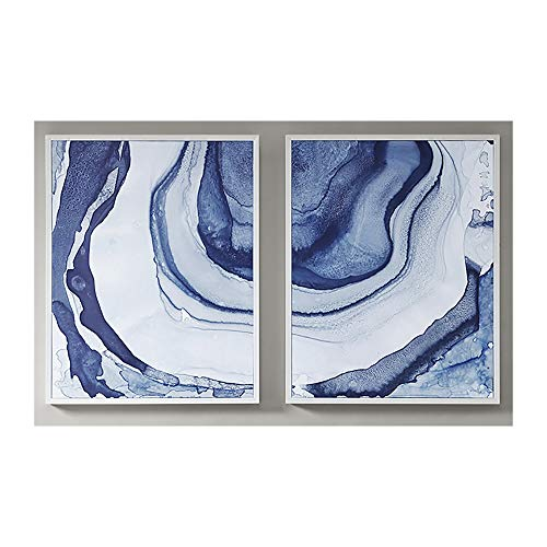 Madison Park Ethereal Wall Art-Multi Blue, Print in White Frame Modern Abstract Stretched 2 Piece Set Painting Living Room Décor, See, 2 Count