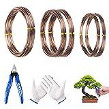 MEZOOM 5 Rollos Bonsai Wires Alambre de Aluminio Cable Bonsái Alambre de Entrenamiento 1mm/1.5mm/2mm Línea de Jardín para Sostener Ramas de Bonsái Troncos Pequeños(3 tamaños)