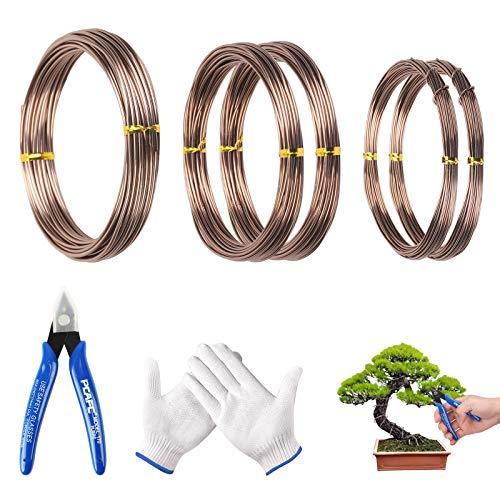 MEZOOM 5 roll Bonsai Aluminiumdraht, Handwerk Aluminium Draht mit Drahtschneider Handschuhe Korrosions 1/1.5/2 mm Korrosionsschutz für Pflanzen Bäume Bonsai Geäst DIY Handwerk(10m)