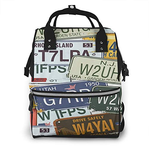 Risating Mummy Backpack - Original License Plates Diaper Pad Bottle Bags Large Capacity Durable Twill Canvas for Mom Dad