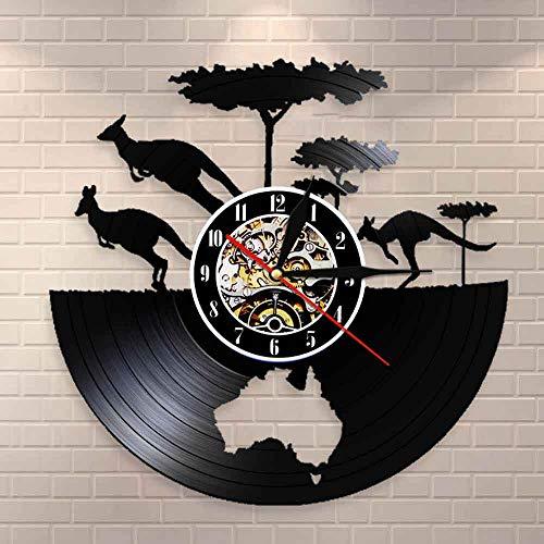 wtnhz LED-Reloj de Canguro de Australia, Mapa del Continente de Australia, Reloj de Pared con Registro de Vinilo, Mapa de Australia, Registro de Vinilo, Arte Mural, Regalo de Viaje de Australia