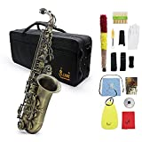 ammoon Saxophone alto Coude Mi bémol de finition antique de haute qualité Motif de découpe de clé de coquille d'ormeau de saxophone avec brosse à sangles en tissu de nettoyage pour gants