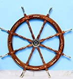 Nagina International Nautical Premium Sailor's Hand Crafted Brass & Wooden Ship Wheel | Luxury Gift Decor | Boat Collectibles (36 Inches, Anchor & Strips with Brass Handles)