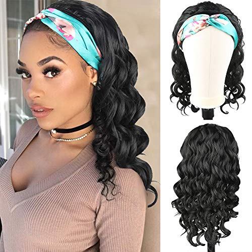 Curly Headband Wig Synthetic Half Wigs for Black Women,KRSI Curly Hair Wig with Headband Attached 14inch Cute Wigs 2 in 1Curly Afro Wig Loose Wavy Black Wig Ponytail Wigs for Black Women(1B)