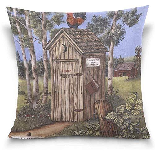 Outhouse Rooster Square Throw Pillow Case Funda de cojín para sofá Cama Silla