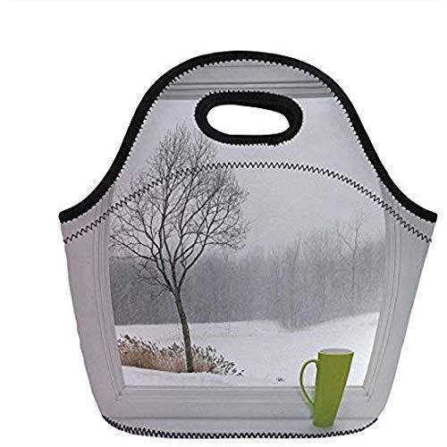 Winter, groen theekopje op een vensterbank bos buiten februari sneeuwstorm Scenic Countryside Decoratief, voor kinderen volwassen thermische geïsoleerde Tote Bags