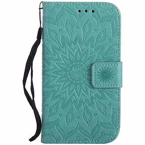 Dfly Galaxy S3 Hülle, Galaxy S3 Neo Hülle, Premium Slim PU Leder Mandala Blume prägung Muster Flip Hülle Bookstyle Stand Slot Schutzhülle Tasche Wallet Case für Samsung Galaxy S3 / S3 Neo, Grün