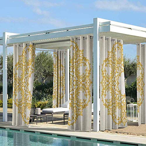 Victorian Pergola Outdoor Curtain Panel Protect You from Sun/Rain Traditional Gold Floral Round Circle with Baroque Elements Turkish Ottoman Style Art Cream 108W x 108L Inch