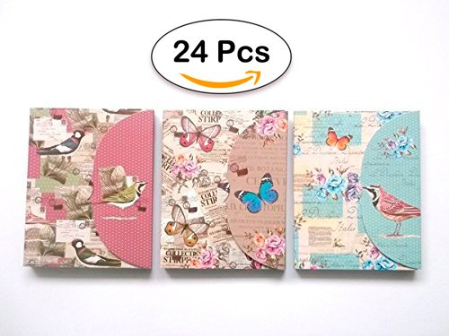 Lote 24 Bloc de Notas con Bolígrafo Butterfly - Detalles, Regalos y Recuerdos para Bodas Originales y Baratos. Libretas, Libretitas Retro, Vintage para regalos de Cumpleaños