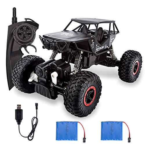 Beyondtrade Remote Control Crawler Car, RC Cars Off-Road Rock 4WD 2.4Ghz 1: 18 Vehicle, Remote Control Cars Electric Fast Racing Buggy Hobby Car with 2 Batteries, for Kid Adult (Black)