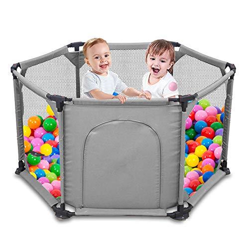 Kids 6-Panel Playard Box Portable wasbaar Aqua Play Center Fence met ademend gaas voor baby's Peuter Pasgeboren baby, binnen en buiten spelen (bruin)