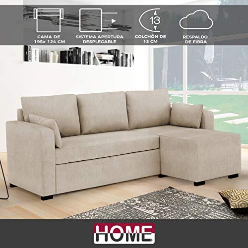 HOME Sofá Cama extraíble de Tela Oiko Medida 2 plazas Cama + Chaise Derecha (Visto de Frente) Tela Soro – Color Camel