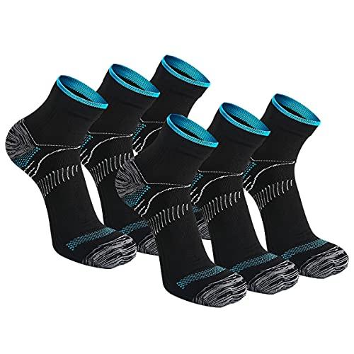 Kuzimua 6 Pares Calcetines de Running Deportivos Compresión Ligera Hombres Mujer de Deporte Transpirables (Negro, m)