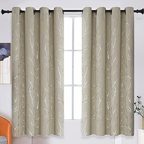 BUHUA Vorhang mit Baumzweigen, wärmeisoliert, Verdunkelungsvorhänge, Sichtschutz, für Esszimmer, 132 x 244 cm, 1 Paar