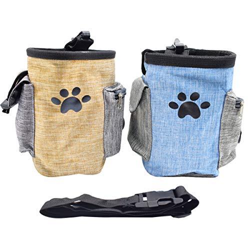 Osuter 2PCS Bolsa para Adiestramiento para Perros Impermeable Bolsa para Golosinas Perro Ajustable Dispensador de Bolsa Caca Incorporada para Interior y Exterior