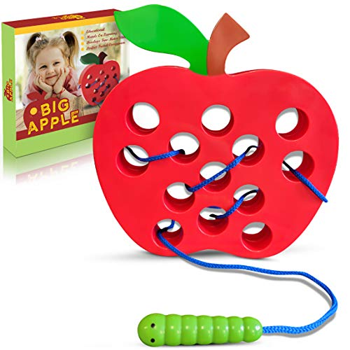 Playahoy Apple Lacing Plastic Threading Toy Fun Learning Game for Kids l Builds Basic Life Skills l Great Airplane Car and House Toy