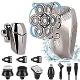 Afeitadora Electrica Hombre, 5 In 1 Afeitadora Barba Hombre con 7 Cabezas Rotativa Máquina de Afeitar Impermeable Uso en Húmedo y Seco USB Recargable, Afeitadora Cabeza Hombre con Pantalla LED