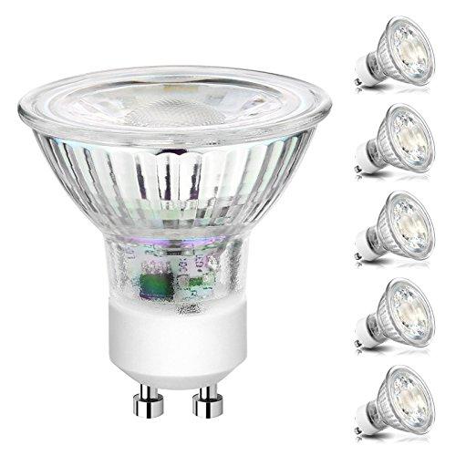 Ascher GU10 COB LED Bulbs, 50W Halogen Bulbs Equivalent, 5W, 420LM, 5000K Daylight White, Non-Dimmable, LED Light Bulbs, MR16 GU10 Base/Pack of 5