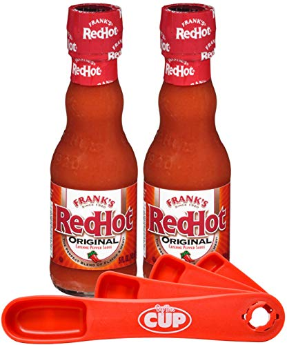Frank's RedHot Original Cayenne Pepper Hot Sauce 5 Ounce (Pack of 2) with By The Cup measuring spoons