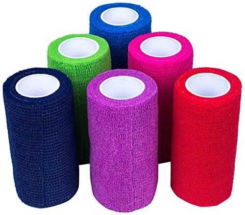 Ever Ready First Aid Self Adherent Cohesive Bandages 4 x 5 Yards - 18 Count, Rainbow Colors