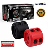 AUTMATCH Winch Cable Hook Stopper (2 Pack) Silicone Rubber Shock Absorbent Winch Stopper Best Winch Accessories for Wire & Synthetic Cables ATV UTV Prevent Pulling Eliminate Abrasion Black & Red