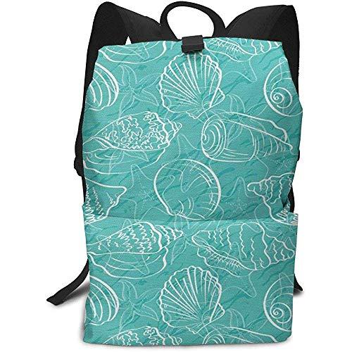 Oodle Style Marine Seashells Abstract Lines Business Mochila para portátil Mochila universitaria para Mujeres Hombres, Senderismo Informal Mochila de Viaje