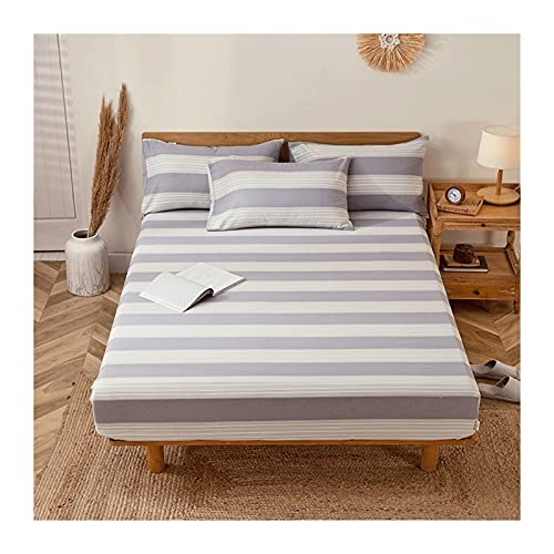 MZP Sábana Bajera Ajustable Paño Grueso 100% algodón Individual Doble King y Super King Profundo 30cm Bed Sheets (Color : Purple A, Size : 120x200cm)