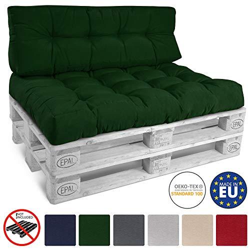 Beautissu Cojín Palet, sofá-Palet y europalet Eco Style - Cojín de Asiento Acolchado 120x80x15 cm - Color: Verde Oscuro Elegir in/Outdoor