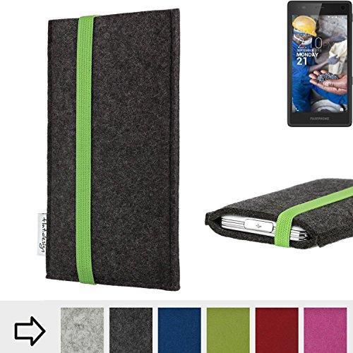flat.design Handy Hülle Coimbra kompatibel mit Fairphone Fairphone 2 handgefertigte Handytasche Filz Tasche fair grün dunkelgrau
