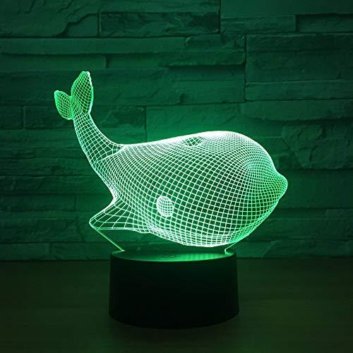 HNXDP Sea Whale 3dNachtlicht Bunte Touch Switch Visuelle Kleine 3d Licht weihnachtsschmuck geschenk für babyzimmerKinder Lampe