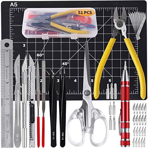 51 PCS Hobby Tool Kit,Gundam Model Tool,Exacto Knife,Art Knife,Suitable DIY Art Works,Including Utility Knife,Art Scissor,Cutting Mat,Cutting Plier,Screwdriver,Tweezer,File,Ruler,Scalpel