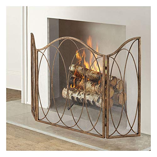 Spark Guard Modern Fireplace Screen for Living Room, Fancy Fireproof Mesh Screens with Arc Design and Two Wings, Safety Durable Baby Fence, Gold