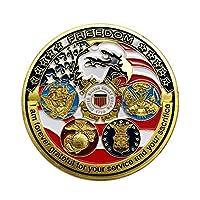 Perfeclan コインコレクター アメリカUSAF 玩具コイン 丸型 チャレンジコイン ゴールド 鉄メッキ金